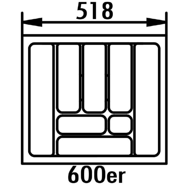 lijntekening bestekbak 60 cm