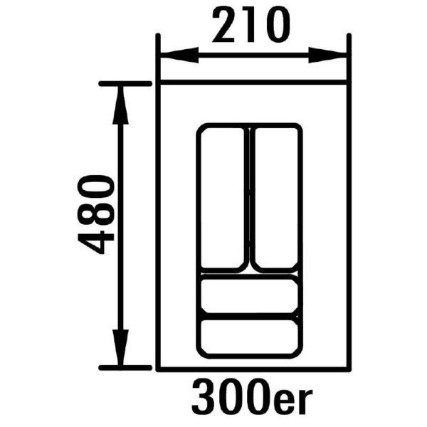 lijntekening bestekbak 30 cm