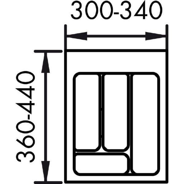 lijntekening bestekbak 40 cm